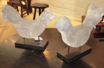 "CC1011-42, Pair of Stone Sumba Chickens w/ Stand, 16 ¼"" x 4 ¾"" x 13"" & 15 ½"" x 4 ¾"" x 13½, Pricing & Availability Upon Request"