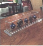 "CC1011-57-B, Set of three blue pots/Lucite Box, 2 bronze elephants,  NI-ADC Acrylic Rectangle Box Top: 4 1/2""x 19""  Base: 6""x 21"", NI-SH Bronze Elephants, Pricing & Availability Upon Request"