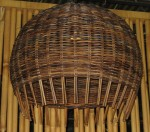CC412-2, Mediumm Rattan Hanging Lamp, Croco Finish,  Pricing & Availability Upon Request