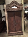 "CC813-22, Old Teak Sumatra Door & Surround, (5 pieces) 1 piece bottom base support 1 piece top support, 1 crown heavily craved, 2 doors OAW 37 ½"" OAH 81"" 9"" Depth, Pricing & Availability Upon Request"