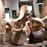 Whale vertebrae, Ifugao basket, carvings