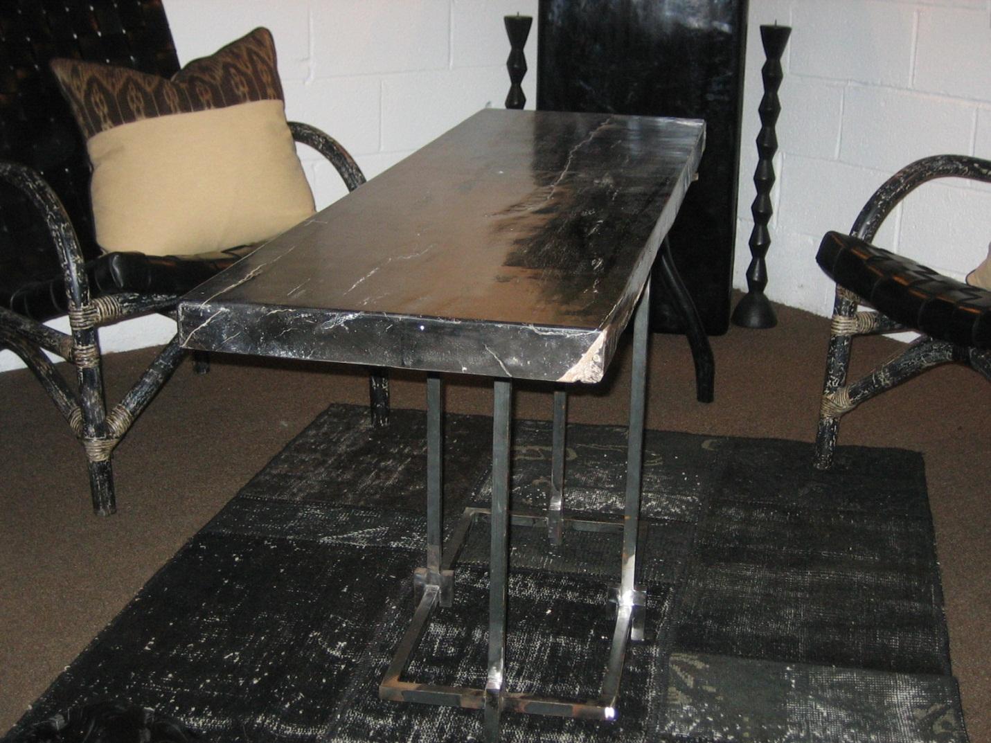 Cc312 55 petrified wood table top w custom kenny c base slab 55 3