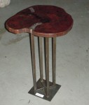 "CC912-52-824, Tamarind Wood Top on 8"" Square Steel Base, 17 1/2"" x 16""x 25 1/2"", Price & Availability Upon Request"